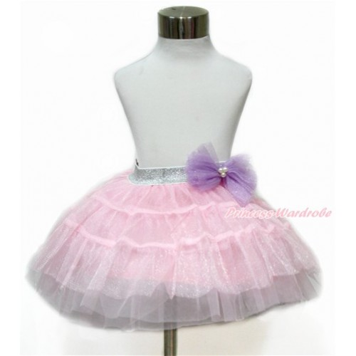 Sparkle Dark Purple Bow Waist with Sparkle Light Pink Chiffon Tiered Layer Skirt Dress Up Dance Dress B254