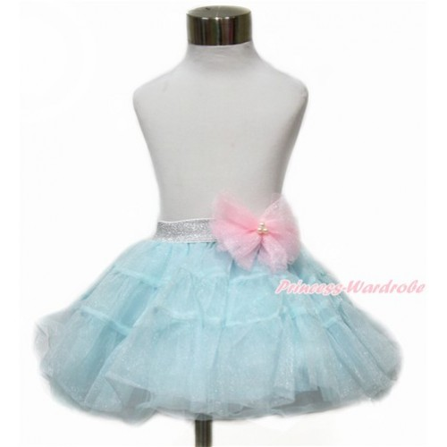 Sparkle Light Pink Bow Waist with Sparkle Light Blue Chiffon Tiered Layer Skirt Dress Up Dance Dress B255