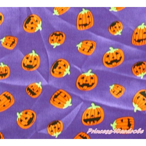 1 Yard Dark Purle Pumpkin Print Satin Fabrics HG040