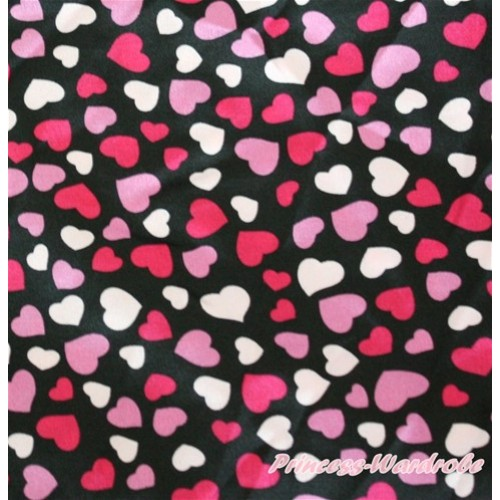 1 Yard Hot Light Pink Heart Print Satin Fabrics HG043