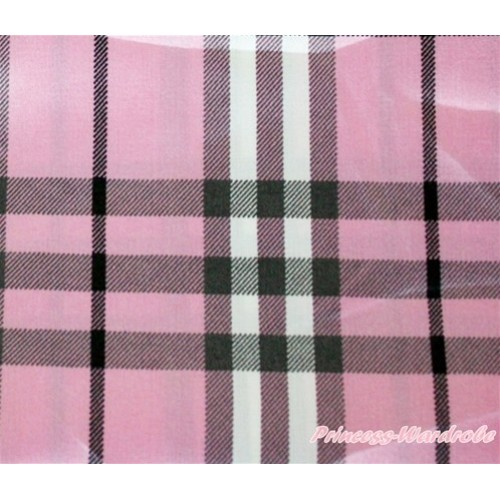 1 Yard Light Pink Checked Print Satin Fabrics HG045