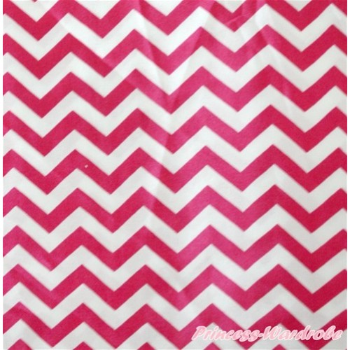 1 Yard Hot Pink White Chevron Print Satin Fabrics HG048