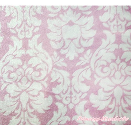 1 Yard Light Pink White Damask Print Satin Fabrics HG051