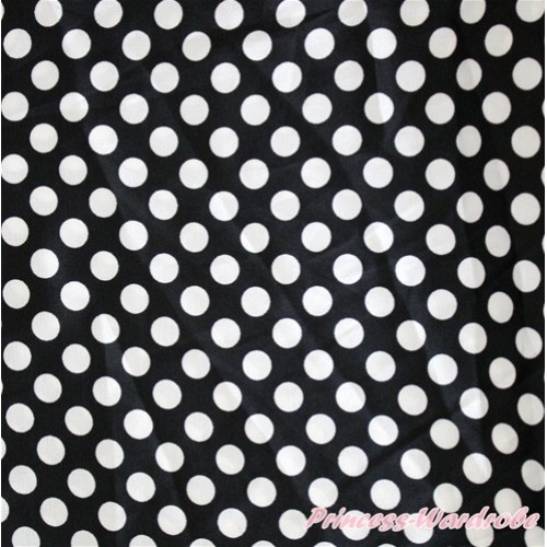 1 Yard Black White Dots Print Satin Fabrics HG052