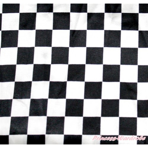1 Yard Black White Checked Print Satin Fabrics HG055