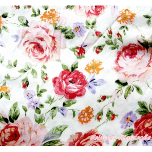 1 Yard Light Pink Rose Fusion Print Satin Fabrics HG062