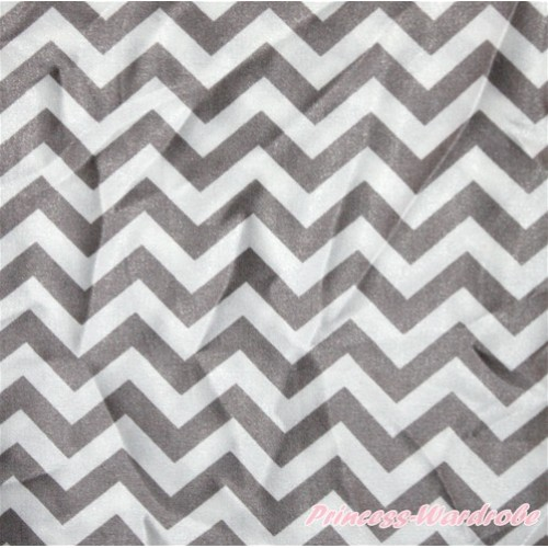 1 Yard Grey White Chevron Print Satin Fabrics HG063