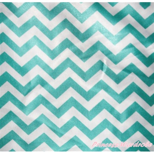 1 Yard Aqua Blue White Chevron Print Satin Fabrics HG064