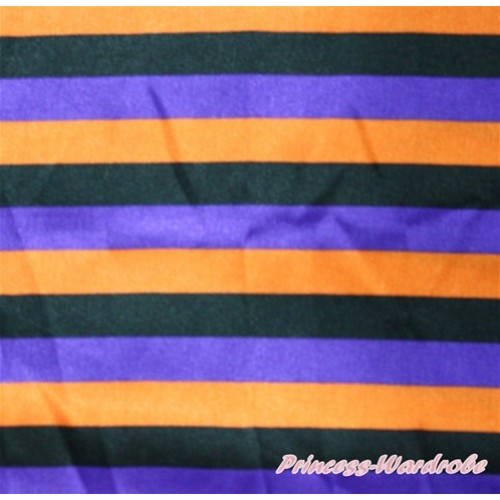1 Yard Dark Purple Orange Black Striped Print Satin Fabrics HG059