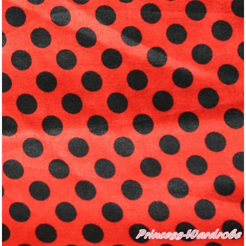 1 Yard Beetle Red Black Dots Print Satin Fabrics HG057