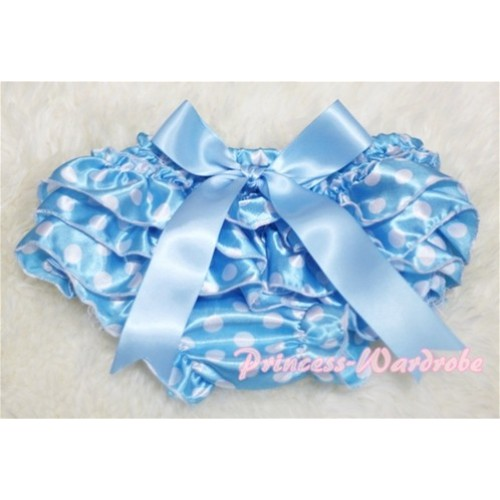 Light Blue White Polka Dot Layer Panties Bloomers with Cute Big Bow BL37