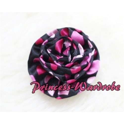 Hot Pink Heart Print Rosettes Hair Pin F23