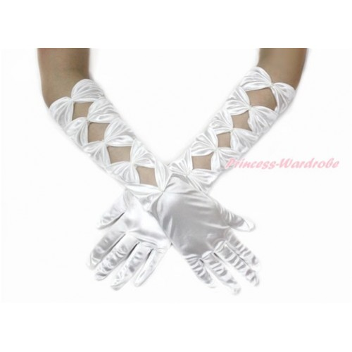 White Pearl Bow Wedding Elbow Length Princess Costume Long Satin Gloves PG006