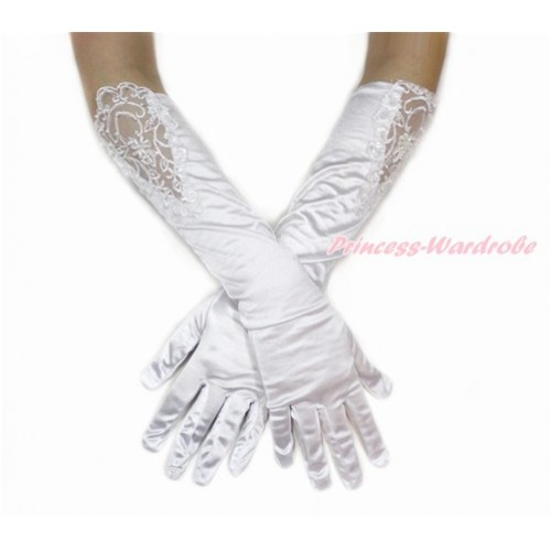 White Wedding Elbow Length Princess Costume Long Lace Bead Satin Gloves PG008