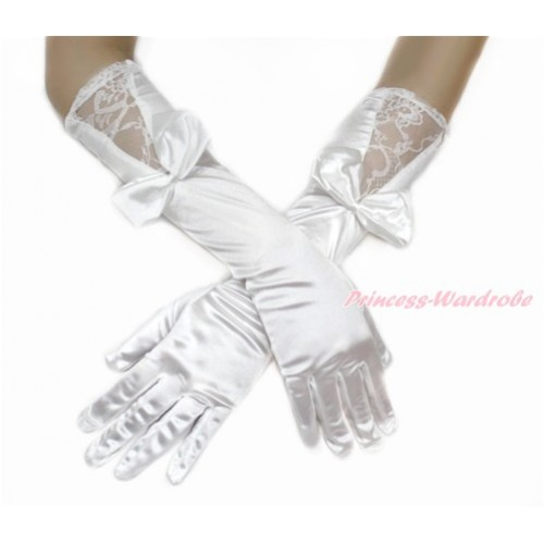 White Wedding Elbow Length Princess Costume Long Lace Satin Gloves with Bow PG010