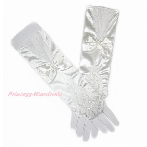 Cream White Wedding Elbow Length Princess Costume Long Lace Satin Fingerless Gloves with Bow PG012