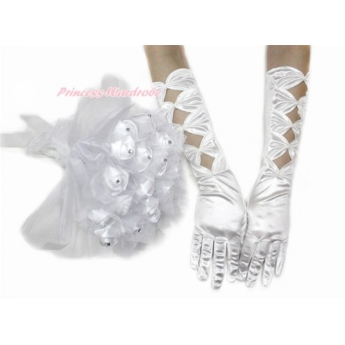 White Pearl Bow Wedding Elbow Length Princess Costume Long Satin Gloves & Sparkle Crystal Bling Rhinestone Satin Bridal Bouquet PG006C228