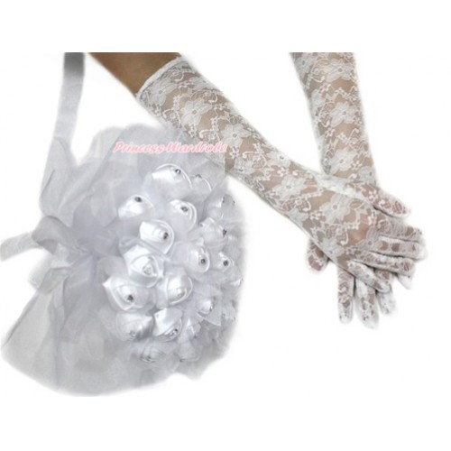 White Wedding Elbow Length Princess Costume Long Lace Gloves & Sparkle Crystal Bling Rhinestone Satin Bridal Bouquet PG005C228