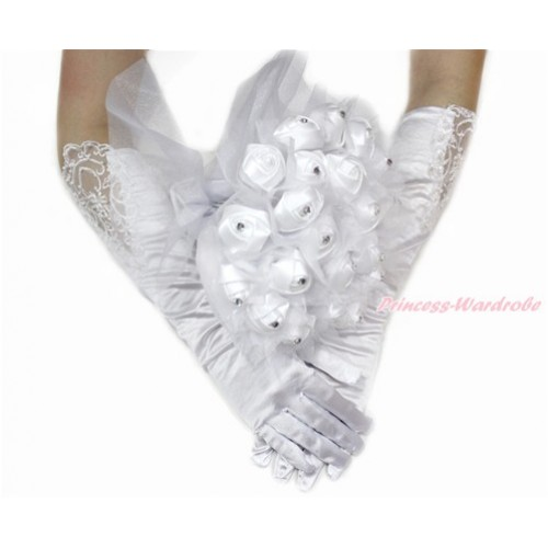 White Wedding Elbow Length Princess Costume Long Lace Bead Satin Gloves & Sparkle Crystal Bling Rhinestone Satin Bridal Bouquet PG008C228