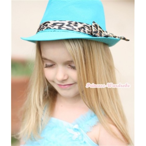Leopard Lacing Aqua Blue Jazz Hat With Leopard Satin Bow H601
