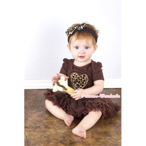 Brown Baby Jumpsuit Brown Pettiskirt With Leopard Heart Print With Brown Headband Leopard Satin Bow JS288