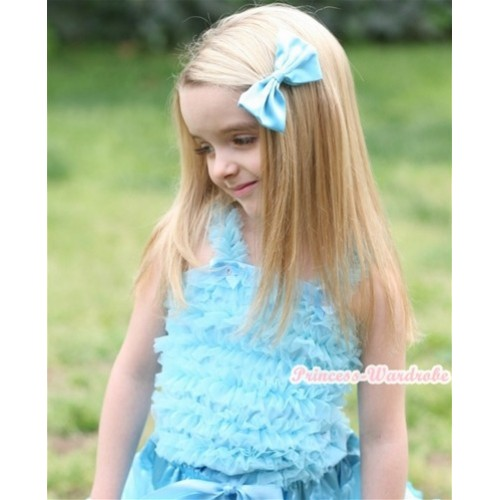 Light Blue Ruffles Tank Tops R07