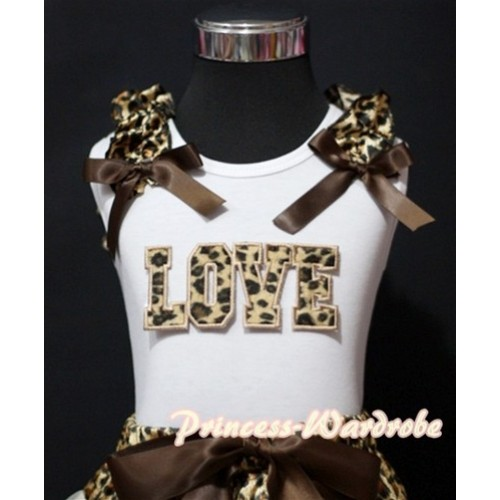 Leopard LOVE Print White Tank Top with Leopard Ruffles Brown Bows TM181