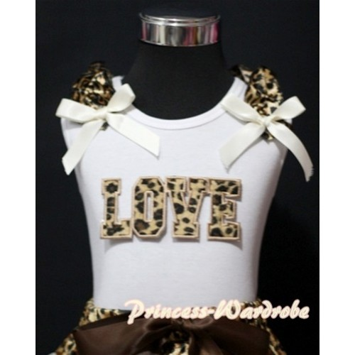 Leopard LOVE Print White Tank Top with Leopard Ruffles Cream White Bows TM181