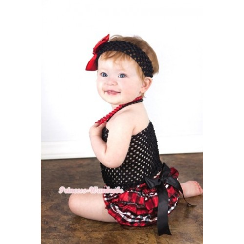 Black Big Bow Red Black Checked Satin Bloomers with Black Crochet Tube Top and Black Headband Red Silk Bow 3PC Set CT536