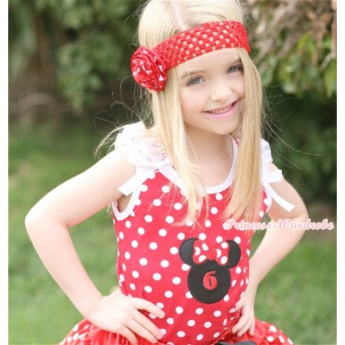 Minnie Dots Tank Top With 6th Birthday Number Minnie Print with White Ruffles & White Bow TP143