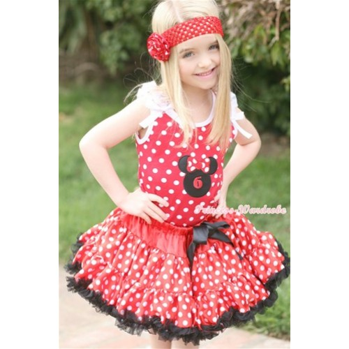 Minnie Dots Tank Top with 6th Birthday Number Minnie Print with White Ruffles & White Bow & Minnie Polka Dots Pettiskirt MH076