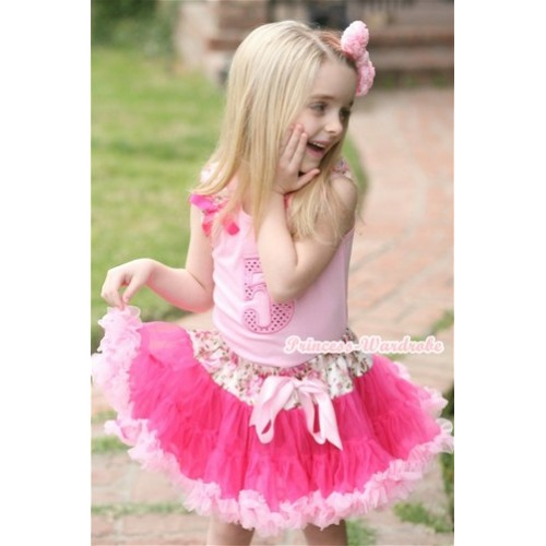 Light Pink Tank Top with 5th Sparkle Light Pink Birthday Number Print with Rose Fusion Ruffles & Hot Pink Bow With Rose Fusion Waist Hot Light Pink Pettiskirt M516