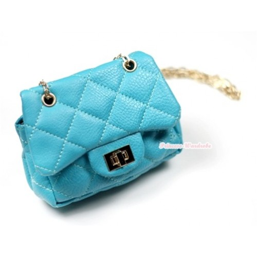 Gold Chain Aqua Blue Checked Little Cute Petti Shoulder Bag CB50