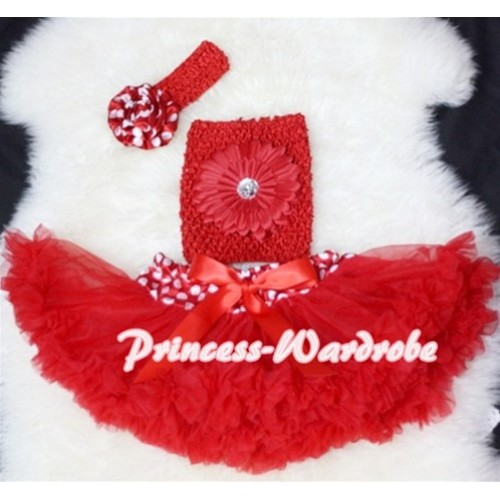 Minnie Dot Waist Baby Pettiskirt, Red Crochet Tube Top, Rose Headband 3PC Set CT68