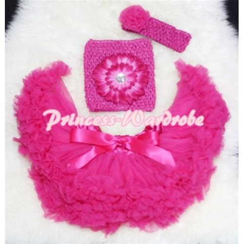 Hot Pink Baby Pettiskirt, Hot Pink Flower Hot Pink Crochet Tube Top, Rose Headband 3PC Set CT75