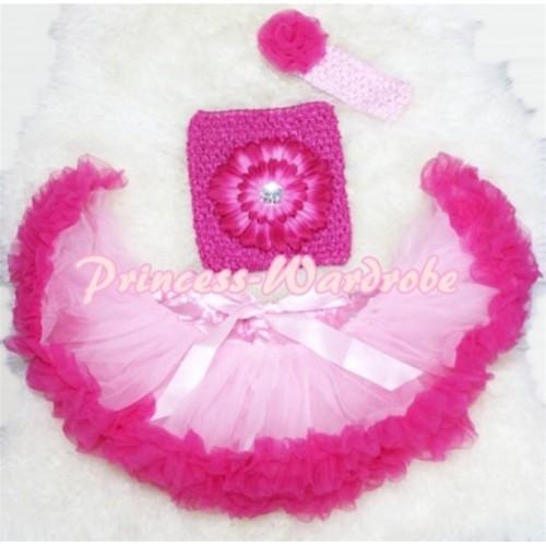 Light Hot Pink Baby Pettiskirt, Hot Pink Flower Hot Pink Crochet Tube Top, Rose Headband 3PC Set CT76