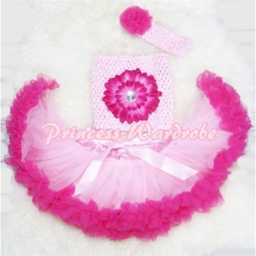 Light Hot Pink Baby Pettiskirt, Hot Pink Flower Light Pink Crochet Tube Top, Rose Headband 3PC Set CT78