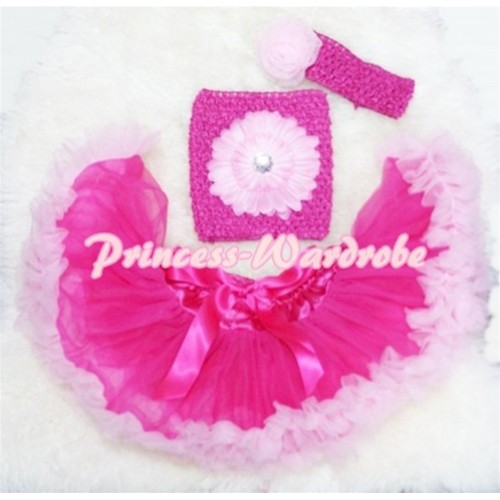 Hot Light Pink Baby Pettiskirt, Pink Flower Hot Pink Crochet Tube Top, Rose Headband 3PC Set CT79