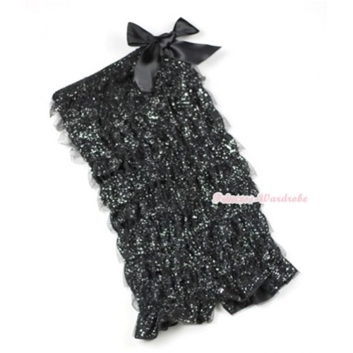 Sparkle Black Ruffles Petti Rompers with Black Bow LR157
