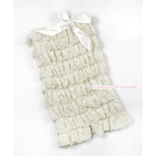 Cream White Ruffles Petti Rompers with Cream White Bow LR158