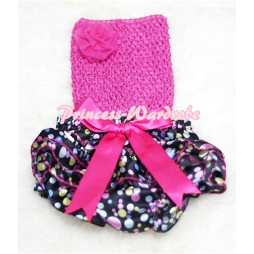 Hot Pink Crochet Tube Top, Hot Pink Giant Bow Rainbow Dots Bloomer CT83