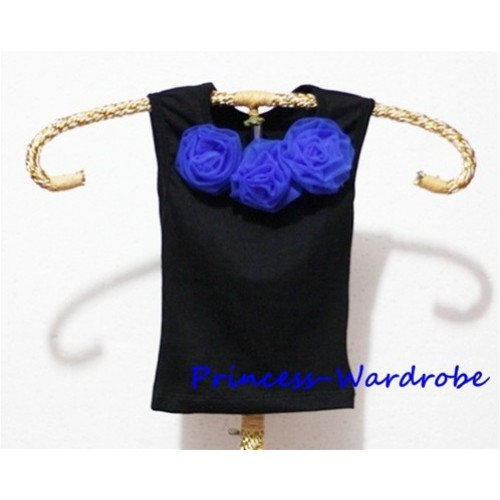 Black Baby Pettitop & Royal Blue Rosettes NT18