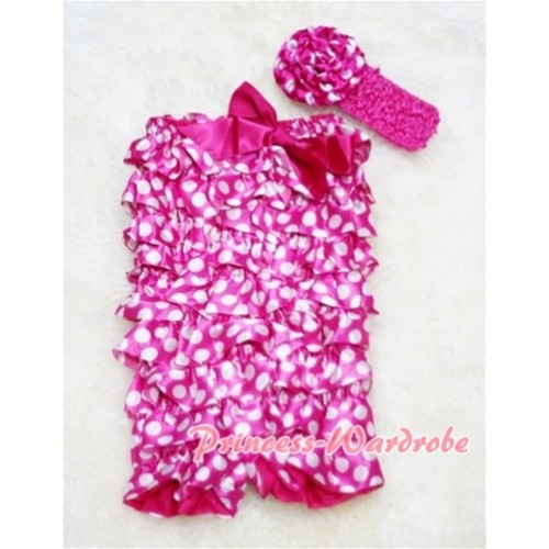 Hot Pink White Polka Dot Chiffon Romper with Hot Pink Bow with Headband Set RH01