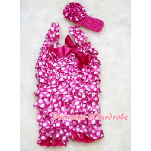 Hot Pink White Polka Dot Chiffon Romper with Hot Pink Bow & Straps with Headband Set RH02