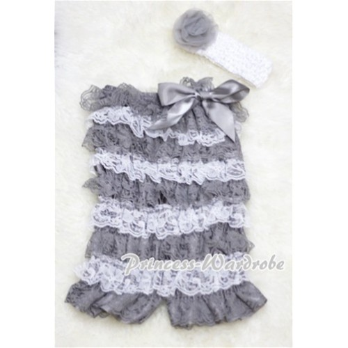 Silver Grey White Layer Chiffon Romper with Silver Grey Bow with Headband Set RH03