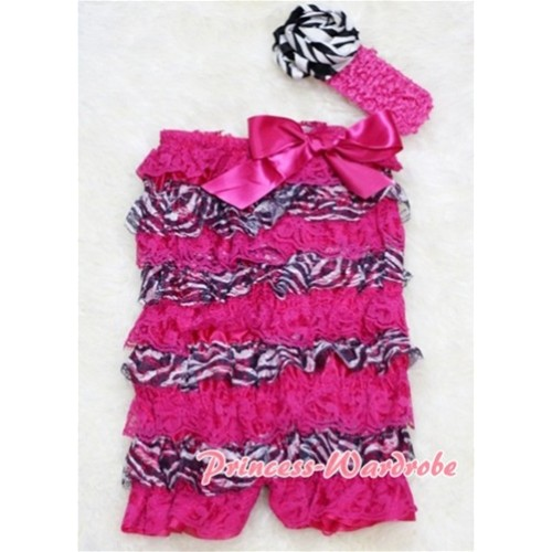 Zebra Hot Pink Layer Chiffon Romper with Hot Pink Bow with Headband Set RH05