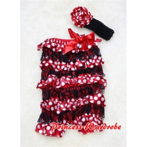 Minnie Dot Black Layer Chiffon Romper with Hot Red Bow with Headband Set RH07