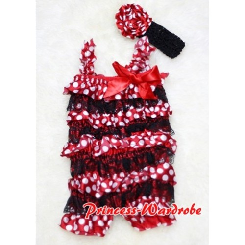 Minnie Dot Black Layer Chiffon Romper with Hot Red Bow & Straps with Headband Set RH08