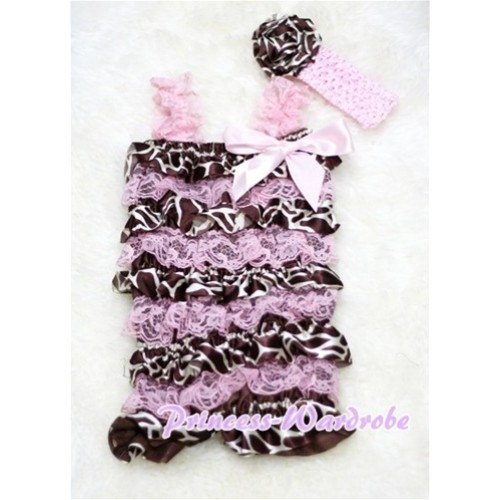 Giraffe Light Pink Layer Chiffon Romper with Light Pink Bow & Straps with Headband Set RH10