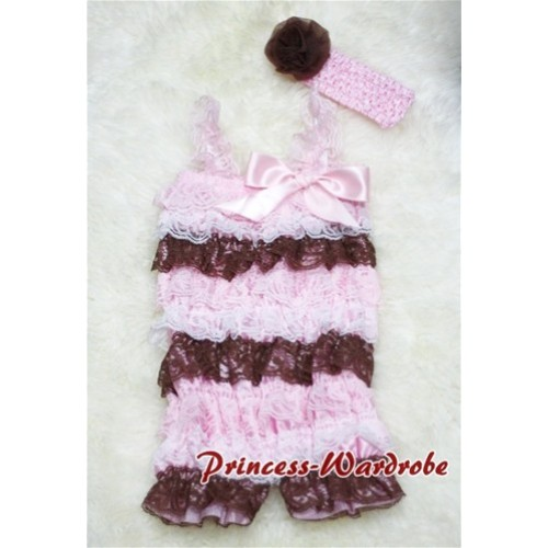 Light Pink White Brown Mix Layer Chiffon Romper with Light Pink Bow & Straps with Headband Set RH12